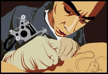 homme portant des gants et faire un tatouage Illustration