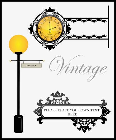 Clock and lamp Stock Vector - 10437731