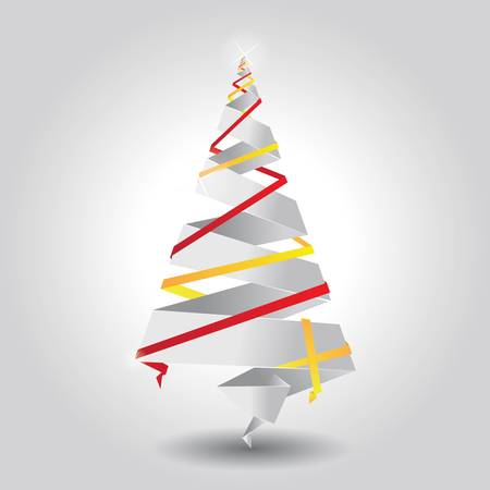 Christmas tree made of paper, origam Vector