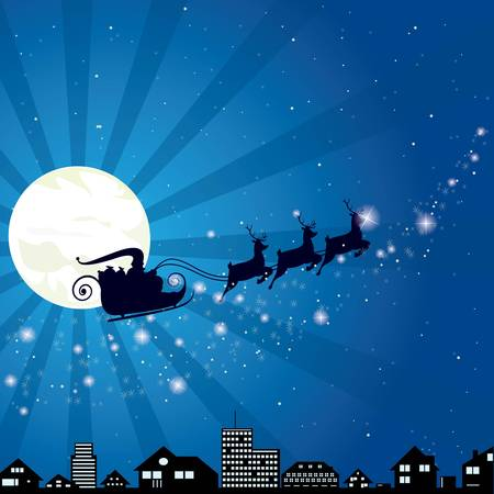 Christmas Santa Claus riding on sleigh with reindeers Vector