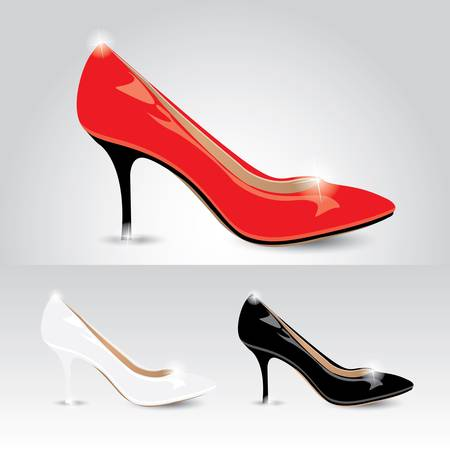 tacones negros: Zapatos de las señoras - vector
