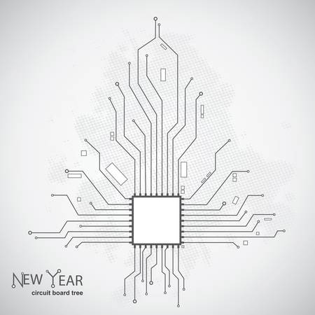 Circuit board pattern in the shape of the Christmas tree  Stock Vector - 12770870