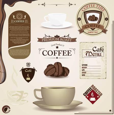 cafe latte:  Coffee vintage design elements