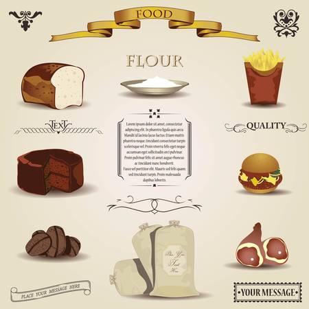 bakery sign: Alimentos de dise�o de los elementos de la vendimia