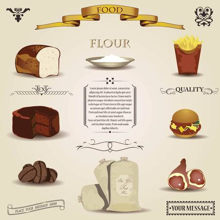 Food design elements- vintage  Vector