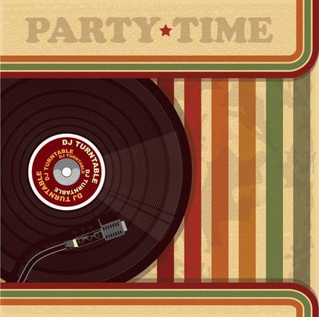 Vintage DJ poster or flyer  Vector
