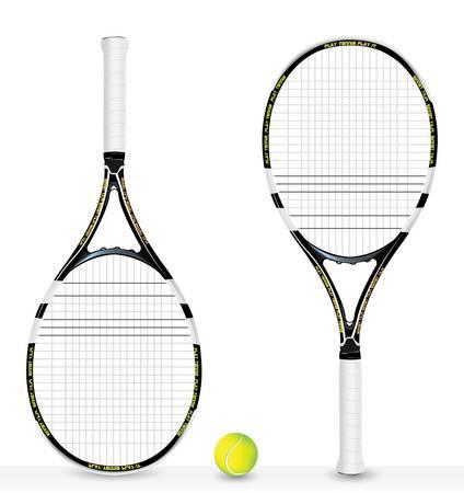 raquette de tennis r�aliste et balle - vecteur