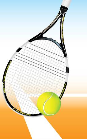 hard court: Tennis Ball on the court with racket in the background  Illustration