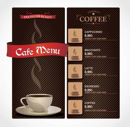 hot plate: Cafe men� Vectores