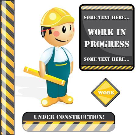 www at sign: Construction worker and construction signs