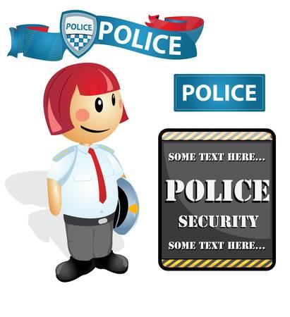 police girl: Cartoon police Officer woman