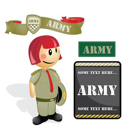 Cartoon soldier Officer woman Vector