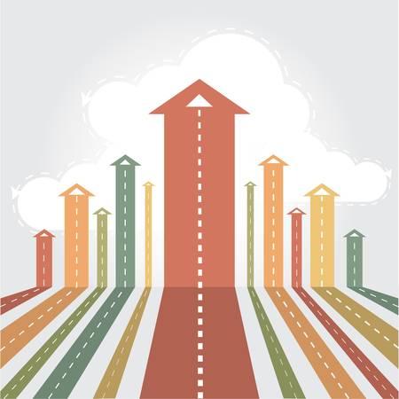 verhogen: Pijlen streven naar de hemel Stock Illustratie