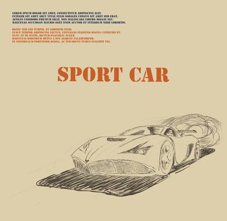 Sport car poster- drawing  Vector