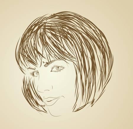 wavy hair: Sketch style fashion portrait of girl