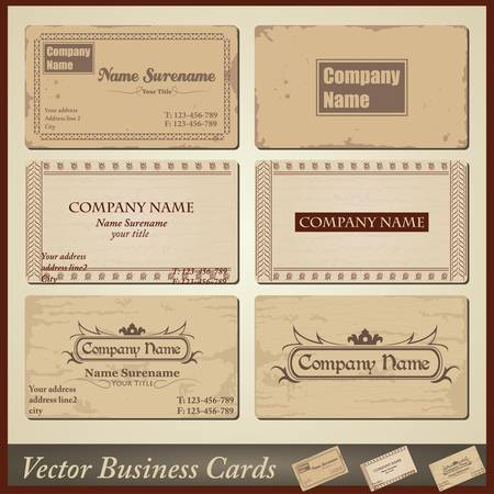 old-style retro vintage business cards - both front and back side Vector