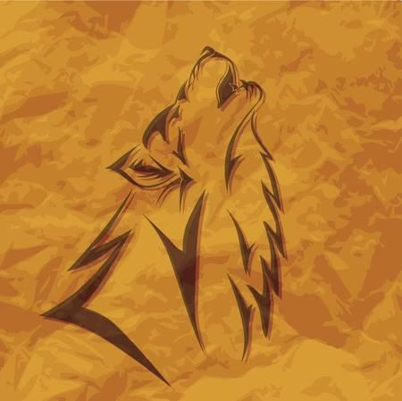 Illustration tribale de loup sur un papier rugueux