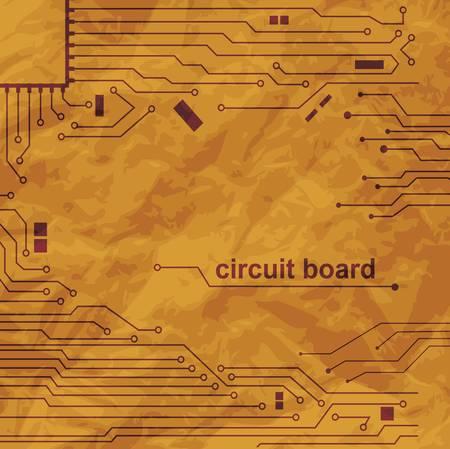 Vintage circuit board scheme on old paper  Vector