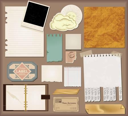Ensemble Vecteur: papier vintage