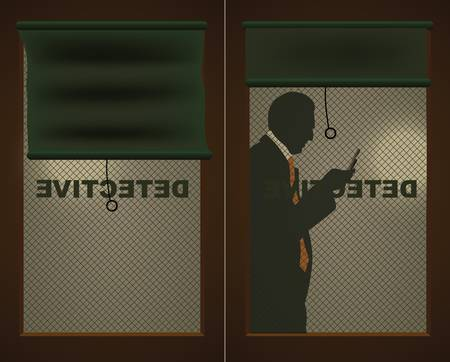 private investigator: Detectives door and a silhouette of a man with a cell phone