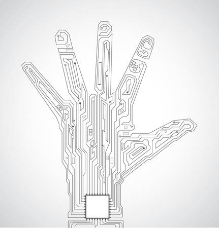 integrated: Circuit board pattern in the shape of hand palm