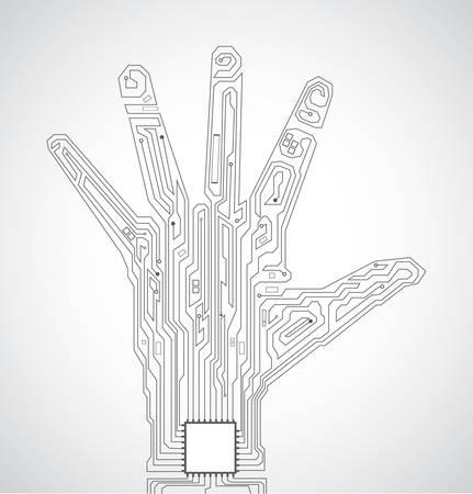 componentes electronicos: Patr�n de tablero de circuito en la forma de la palma de la mano