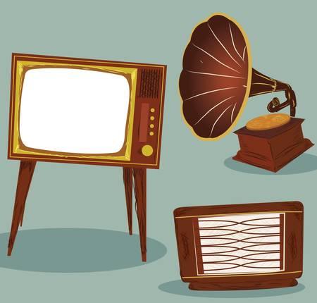 tvset: Retro TV , radio and gramophone