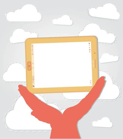 tabletpc: hand holding a tablet