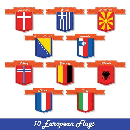 albanian: Set of 10 European flags