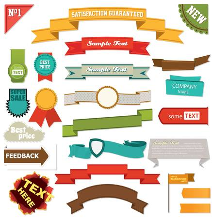 Set of retro ribbons and labels Illustration