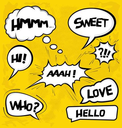 cartoon thinking: A collection of comic style speech bubbles