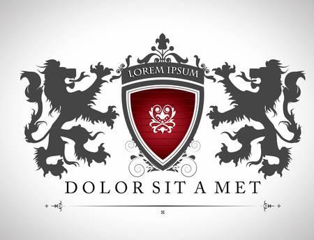 shield emblem: Emblema dell'annata con i leoni con un posto per il testo