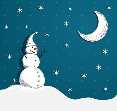 Snowman smiling at the moon  Vector