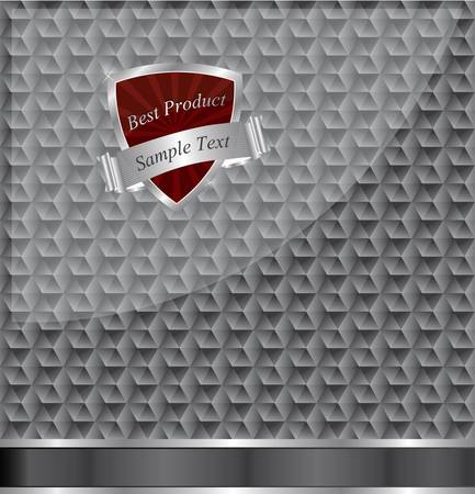 Abstract metallic background with a red shield