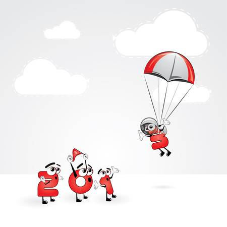year s: Funny New Year s Eve greeting card - Skydiving year Illustration