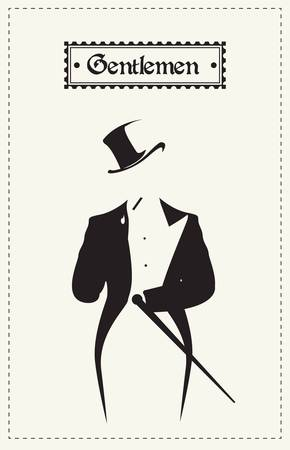 Gentlemen smoking cigarette  Vector