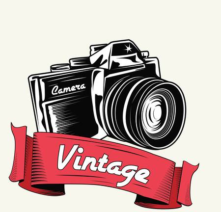 vintage camera: Retro camera with vignette  Illustration