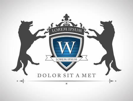 Embl�me de cru avec loup, avec une place pour votre texte Illustration