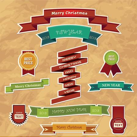 Set of eleven Christmas ribbons  Vector