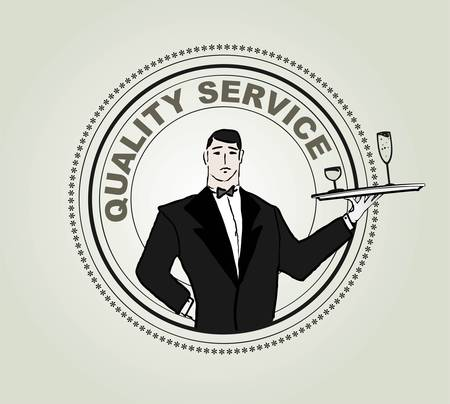 waiter tray: Restaurant service vector label Illustration