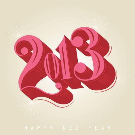 2013 - calligraphic new year greeting design Stock Vector - 16760088
