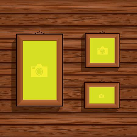 photo gallery: wooden frames for a photo on the background wooden boards Illustration