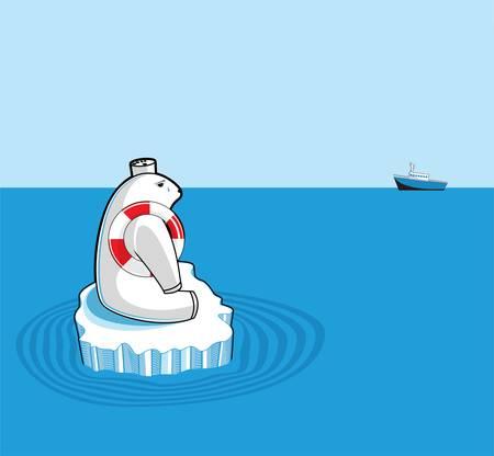 floe: Polar bear on an ice floe. Global warming