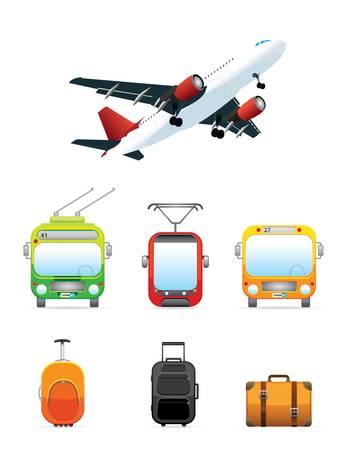 Realistic transportation  travel icons set