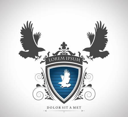 halcones: Emblema de la vendimia con las águilas con un lugar para su texto