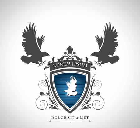 silhouette aquila: Emblema dell'annata con la aquile con un posto per il testo