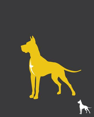 dog silhouette: Great Dane- silhouette  Illustration