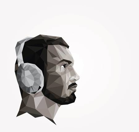 man made: Profile of young man made of triangles, origami style