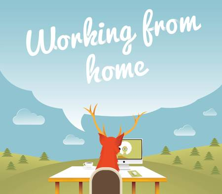 Working from home , Freelancer , vector illustration Imagens - 18446688