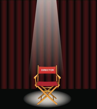 Une chaise administrateurs sur une sc�ne avec un rideau rouge et projecteurs